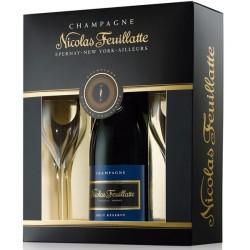 Coffret cadeau Nicolas FEUILLATTE 1 bouteille 2 flûtes