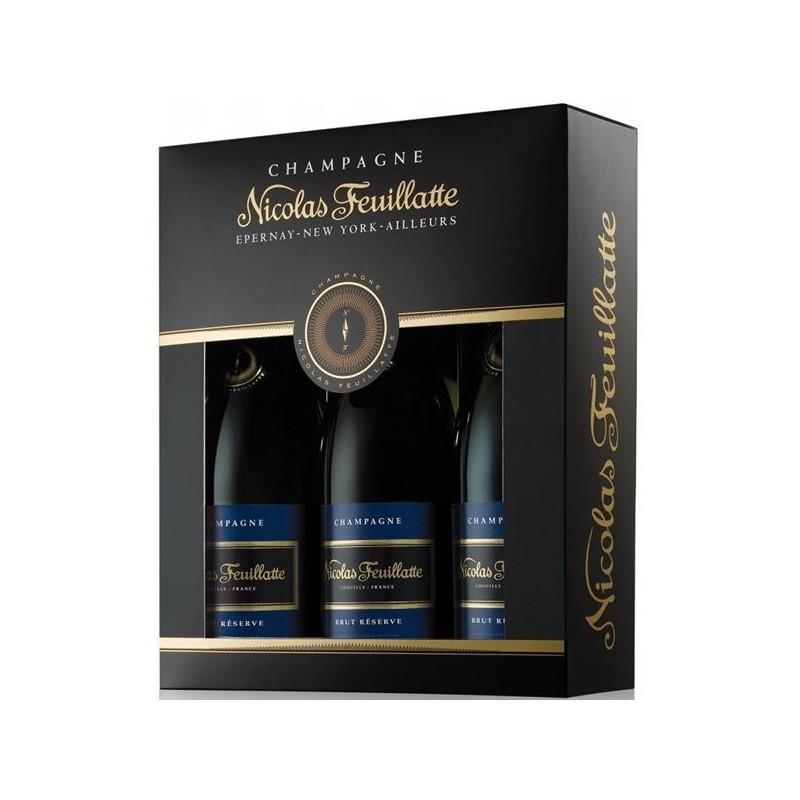 Coffret cadeau Nicolas FEUILLATTE 3 bouteilles Brut Réserve
