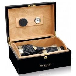 Coffret cadeau FEUILLATTE 2 bouteilles Palmes d'Or Vintage et cave à cigares laquée