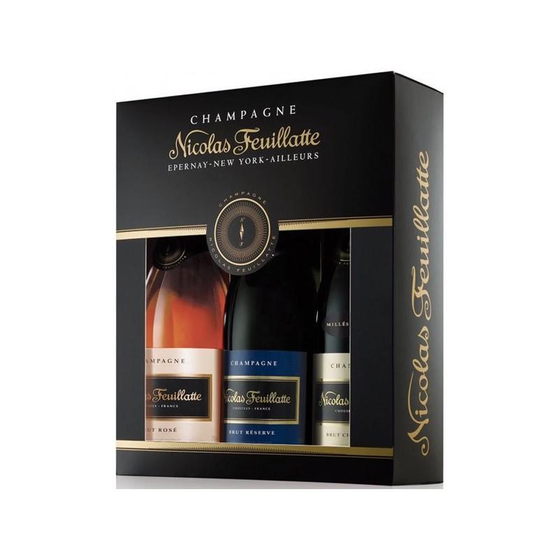 Coffret cadeau Nicolas FEUILLATTE Réserve, Rosé, Chardonnay millésimé