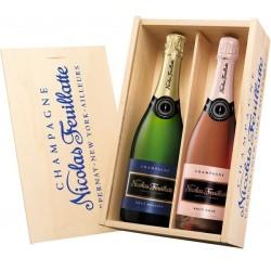 Coffret cadeau Nicolas FEUILLATTE 1 Réserve et 1 Rosé et caisse bois