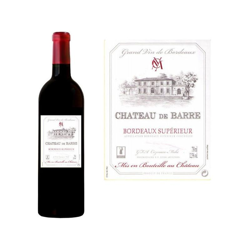Vin Rouge AOC Bordeaux Supérieur Château DE BARRE