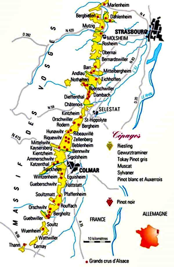 carte vignoble Alsace - route des vins
